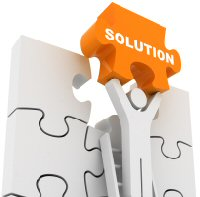 Figure holding a puzzle piece that says solution and is the missing piece of puzzle